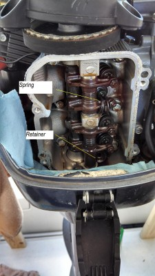 06 T8PXR Valve Cover Removed Cyl 1 Exhaust Spring Wrapped Around Rocker Arm small.jpg